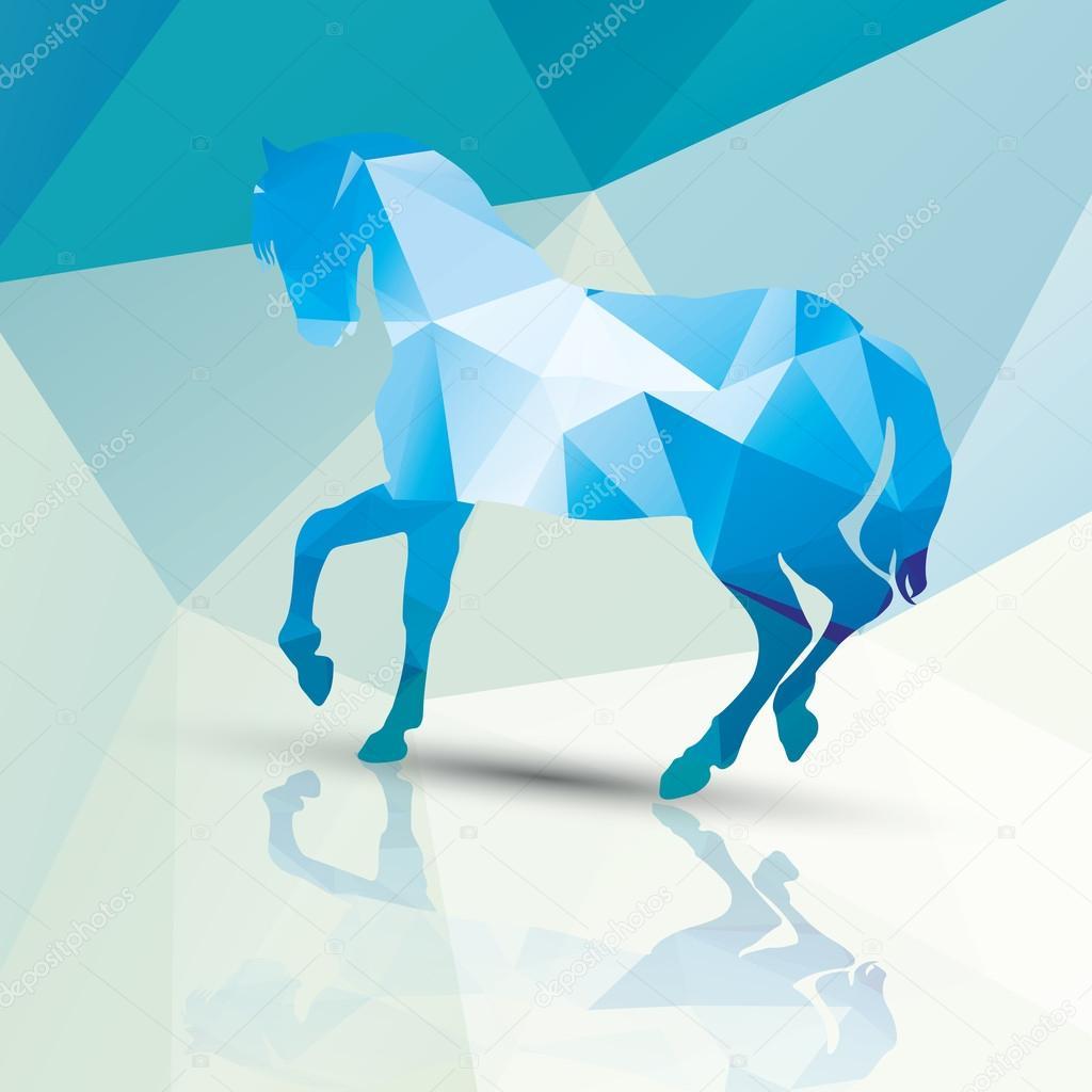 Geometric polygonal horse, pattern design, vector illustration