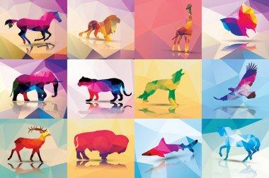 Collection of geometric polygon animals, horse, lion, butterfly, eagle, buffalo, shark, wolf, giraffe, elephant, deer, leopard, patter design, vector illustration