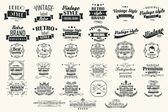 collezione di etichette retrò vintage, distintivi, timbri, nastri, segni ed elementi di design tipografico, illustrazione vettoriale