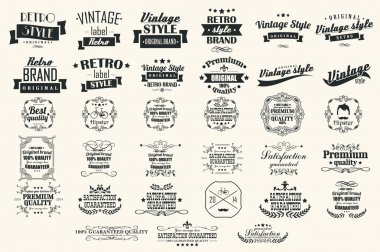 Collection of vintage retro labels, badges, stamps, ribbons, marks and typographic design elements, vector illustration stock vector