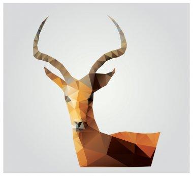 Geometric polygon antelope, triangle pattern design, vector illustration