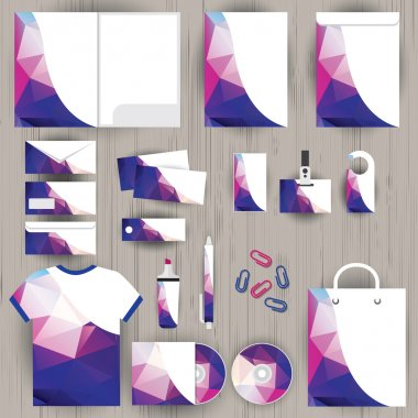 Vector corporate identity, triangle pattern design, geometric background, wooden texture background, stationery