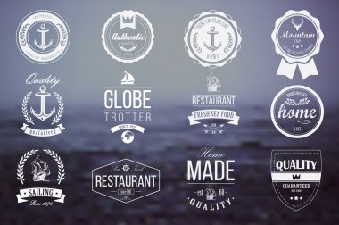 Collection of vintage retro insignia, badges, stamps, ribbons and typographic design elements, vector illustration