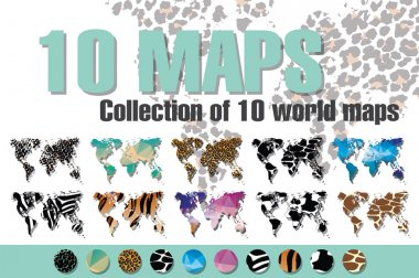 Collection of 10 world maps in different designs, animal prints and geometric designs, patterns and triangles, vector illustration