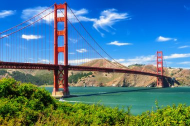 Golden gate bridge vivid day landscape, San Francisco stock vector