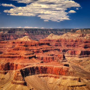 Grand canyon vivid day with white clouds, square format