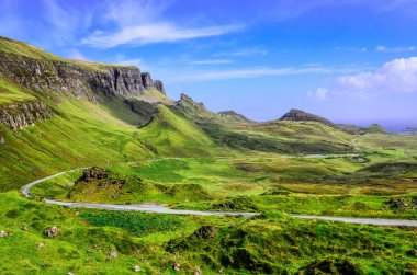 View of Quiraing mountains and the road, Scottish highlands