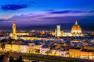 Scenic view of Florence at night from Piazzale Michelangelo