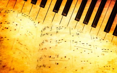 Piano keyboard and music sheets in vintage style