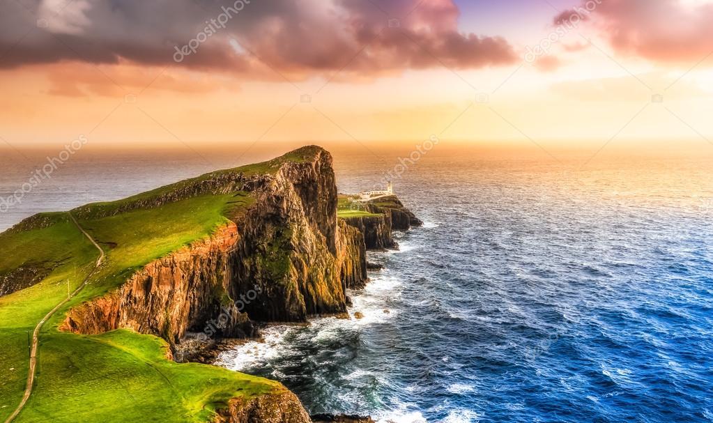 Colorful ocean coast sunset at Neist point lighthouse, Scotland