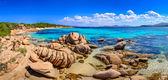 Fotografia panorama di costa bellissimo Oceano in costa smeralda, Sardegna