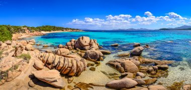 Beautiful ocean coastline panorama in Costa Smeralda, Sardinia