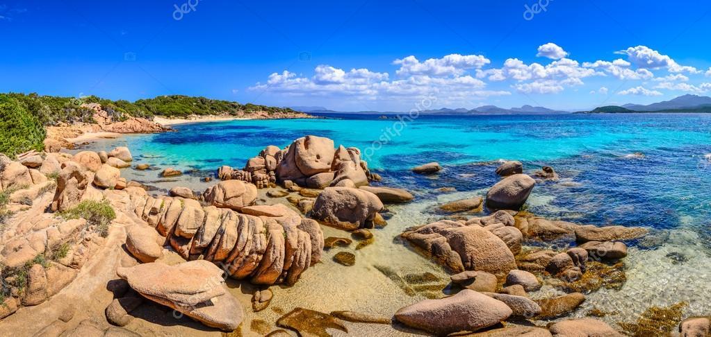 Beautiful ocean coastline panorama in Costa Smeralda, Sardinia