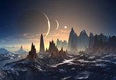 Photo Alien Planet with Mountains with Moons