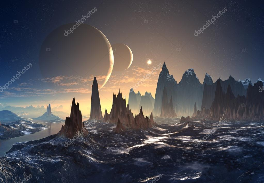 Alien Planet with Mountains with Moons