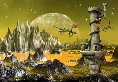 Fantasy Scene With Dragons - Computer Artwork