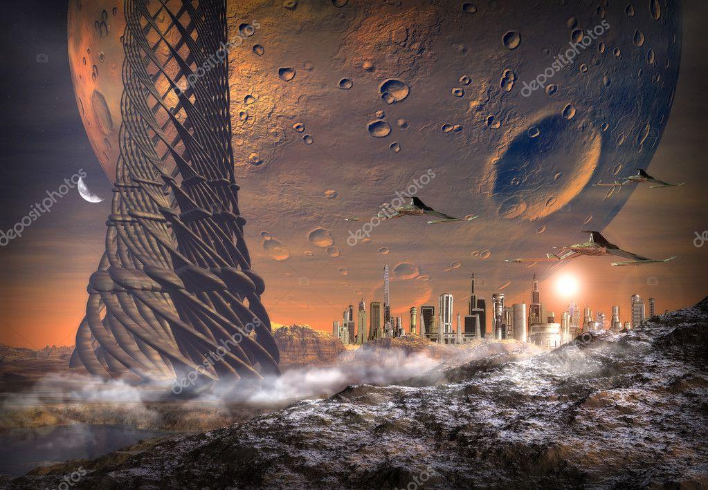 Alien Planet With Alien Town