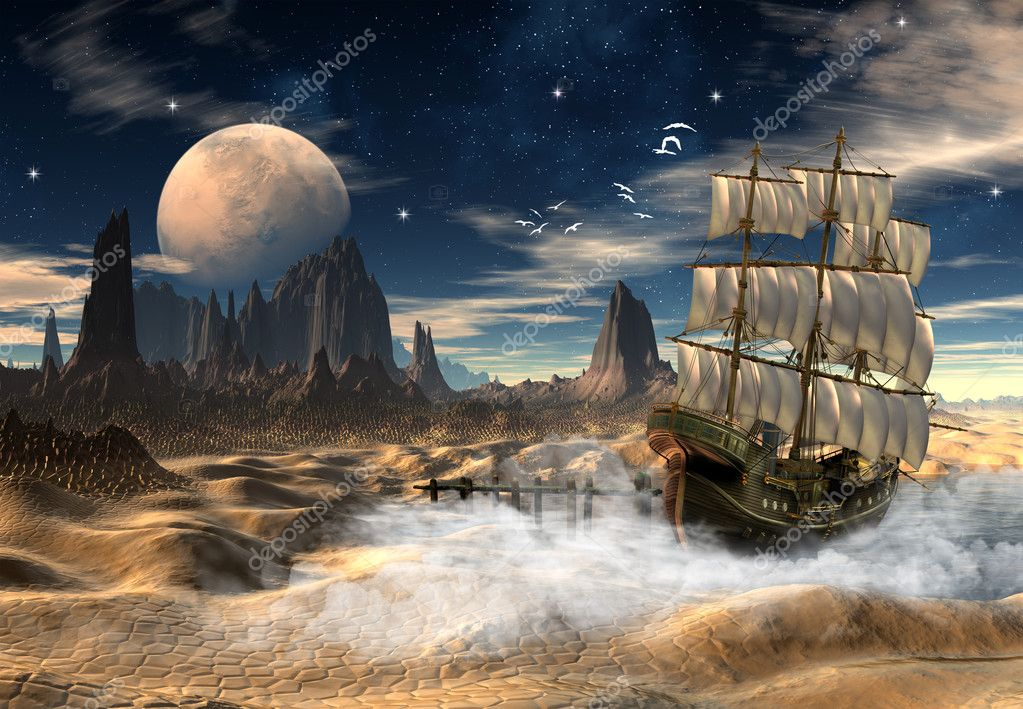 Fantasy Scene of a Ship in a Desert