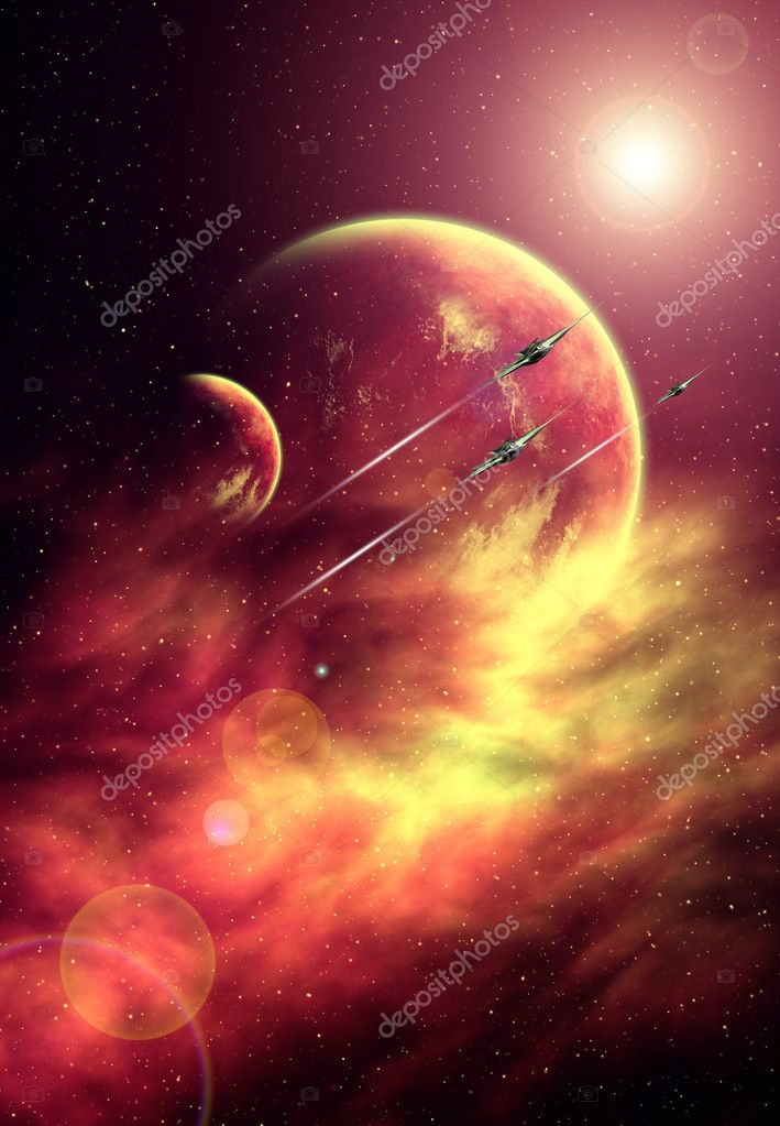 Background with Stars, Nebula, Planets and Spaceships