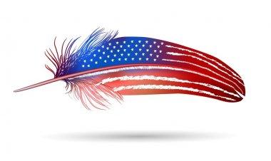 "Картина, постер, плакат, фотообои ""изолированное перо на белом фоне. американский флаг "", артикул 38690929"