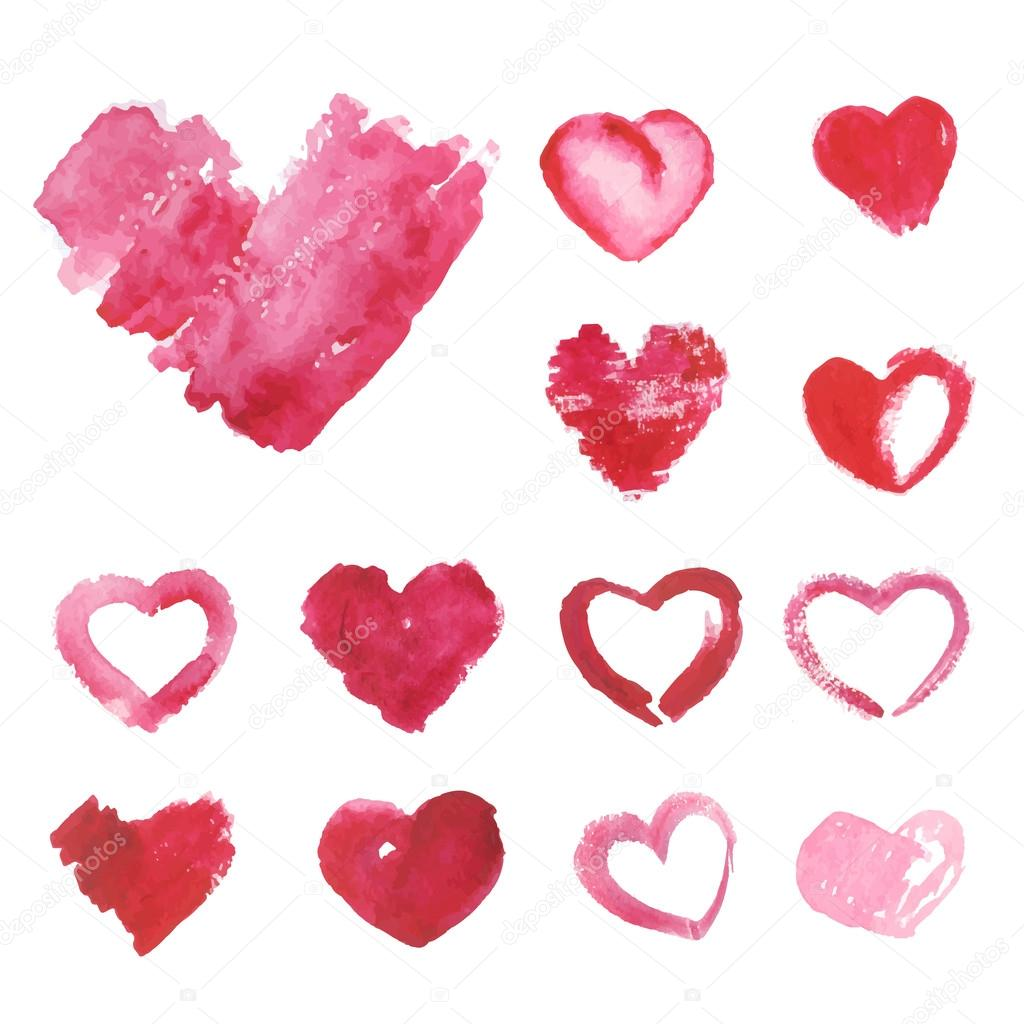 Set of Watercolor painted pink heart