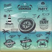 Fotografie Set of Vintage summer typography design with labels, icons eleme