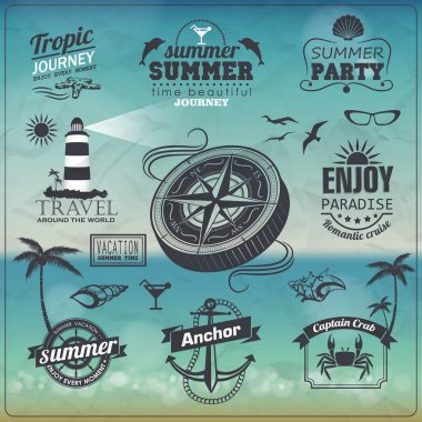 Set of Vintage summer typography design with labels, icons eleme