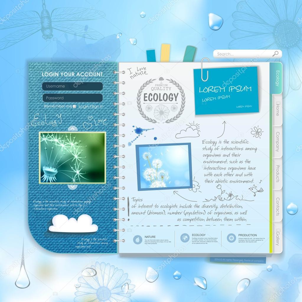 Web site scrapbook design. Ecology background