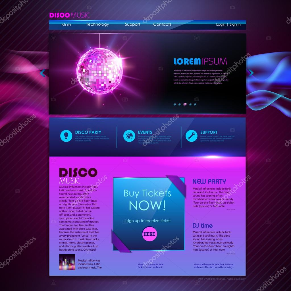 website template design disco background stock vector