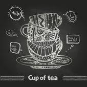 Křída kresby. dekorativní šálek kávy
