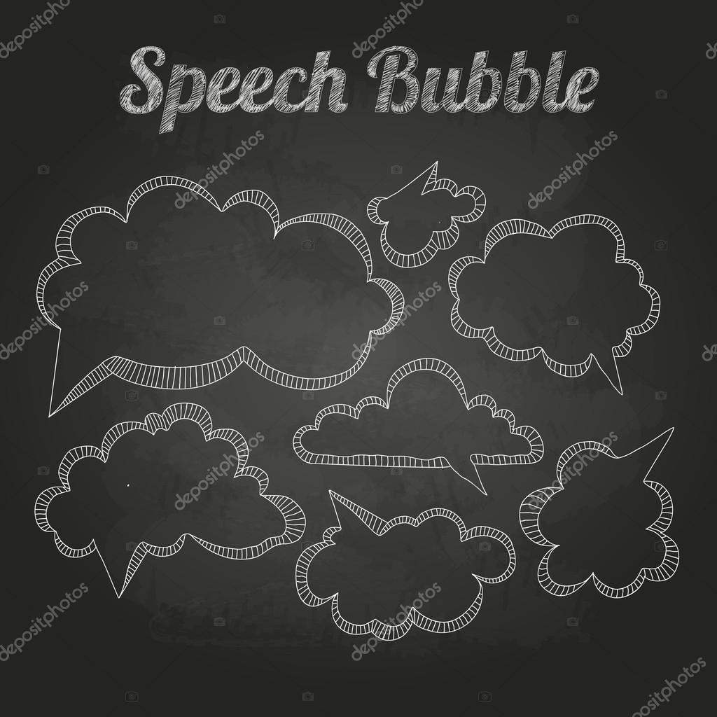Chalk drawings. Set of speech  bubble. Cloud