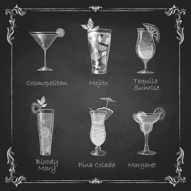 Chalk drawings. cocktail menu