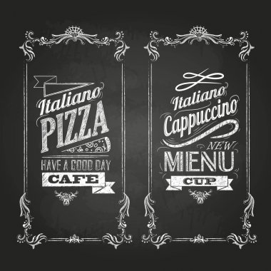 Chalk drawings. Menu. Retro typography