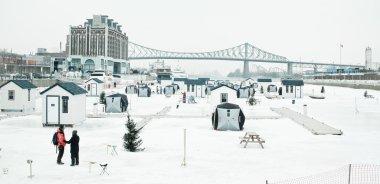 Ice fishing on Saint-Lawrence river