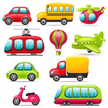 Cartoon transport set stock vector