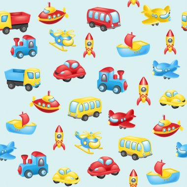 Background with cartoon transport