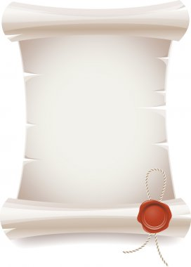 Scroll paper with seal wax stock vector