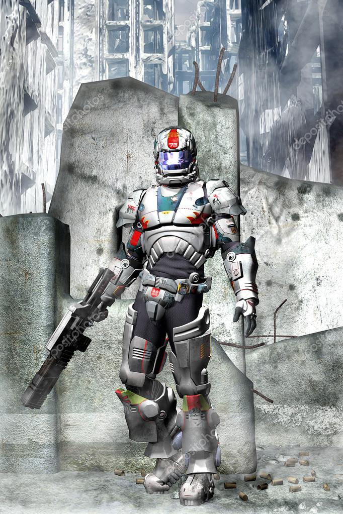 Futuristic soldier between city ruins