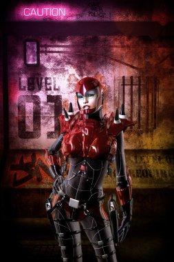 Futuristic cyberpunk soldier girl