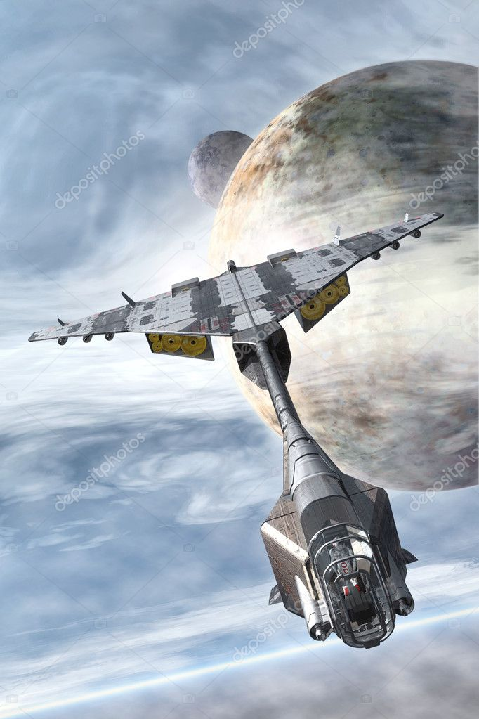Spaceship fighter and planets
