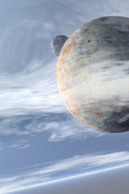Alien moons daylight background