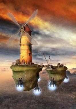 Flying windmill fantasy science fiction seampunk