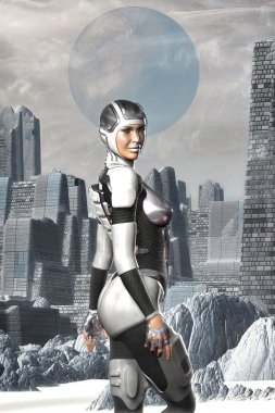 Futuristic astronaut girl on an alien planet