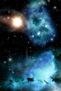 Starfield with nebula and sun background