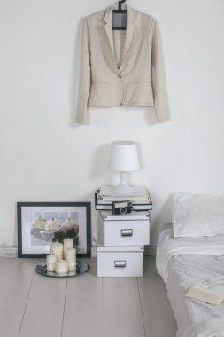 Closeup of the white bedroom.