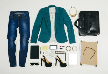 Overhead of essentials business woman.