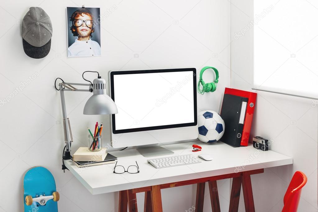 Boys bedroom desk | Desk in a child\'s bedroom. — Stock Photo ...