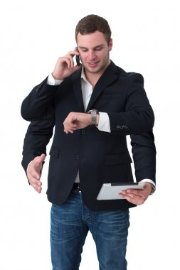 Young man multitasking on phone, watch, tablet, handshake