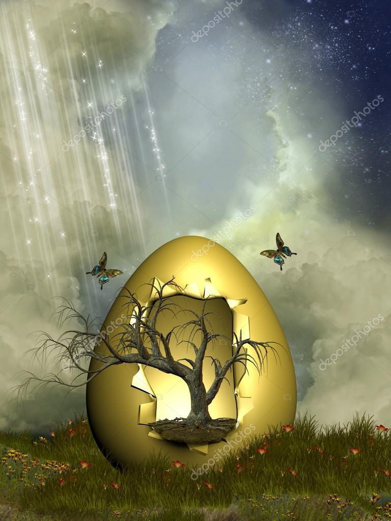Fantasy egg with tree