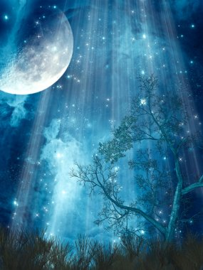 Fantasy landscape with big moon in the forest stock vector